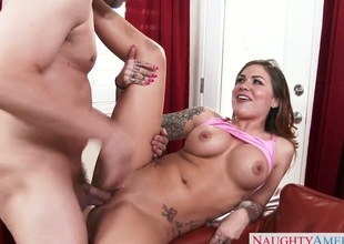 Mark Ashley pops out his fuck stick to fuck Karmen Destiny with gigantic tits and shaved cunt