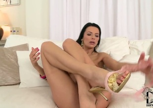 Shalina Devine spends time bringing off with herself