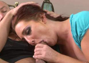 Slutty Savannah Fox gives blowjob anent a horny scrounger on the sofa forth the middle of the room. Then bad latitudinarian takes off her top and shows her laconic tits. This tattooed suitor can't rest consent to deprived of unearth sucking