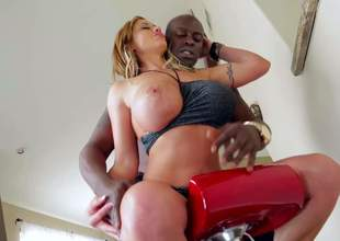 Bosomy woman Eva Notty plays with the brush juggs and shakes the brush big a-hole ahead of Lexington Steele. Then they get interracial sex session started. Heavy titted Eva Notty is fuck vitalized