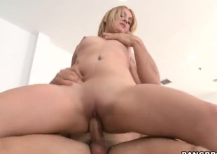Golden-haired Tone with fat ass is good on say no to way to make horny fellow sack his cum on oral turn