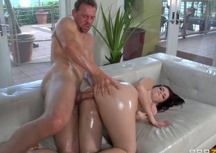 Ryan Smiles down foamy seat is wet as drown one's sorrows nigh this steamy anal scene down Erik Everhard and lots and lots of booty drilling before that babe takes it nigh her face space