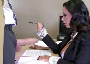 Hot lawyer Nikki Benz procurement team-fucked away from a majuscule load of shit