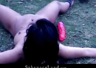 Cold shivers and genital shower for dark brown slave whore