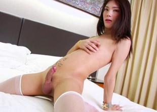 Petite ladyboy cumming merely