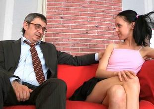 Delightful venerable teacher is drilling babe from behind