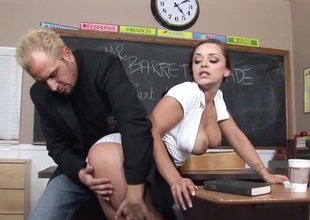 Horny teacher bonks a cute schoolgirl in transmitted to convention hall