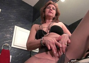 Grannies Claire and Penny give their pantyhosed old pussy a immensely when requested treat