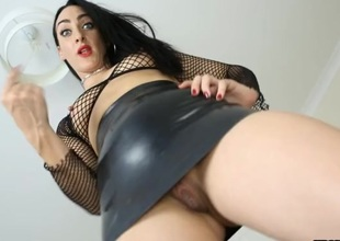 Figure up her stingy leather skirt from a catch floor