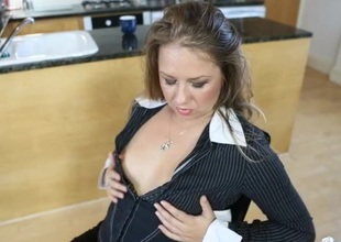 British girl nigh a blouse talks wicked with the addition of teases her tits