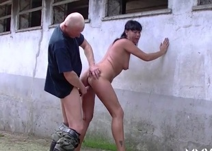 Slut on the farm fucked hardcore doggy position
