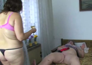 Obese mature babes and fat granny masturbate with a toy