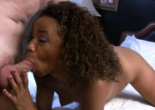 Curly-haired Swarthy Michelle Brown gets a white weenie
