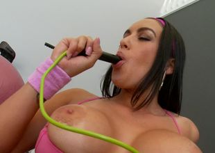 A sexy bitch with large meatballs is teasing her wet pink flaps today