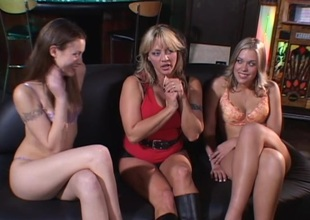 Horny ladies Sindee, Jassie and Mandy close by naughty pussy trample adventure