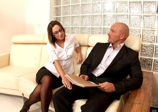 Jada Stevens alluring office secretary seduced her hotshot before she got screwed