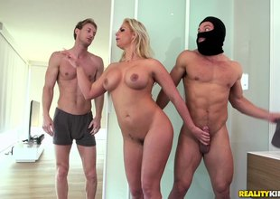 Curvy milf fucked by a burglar all over say no to spouse in the bed
