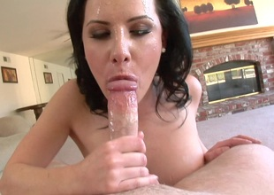 Pass muster a aside POV blowjob she opens wide and swallows his hot saddle with