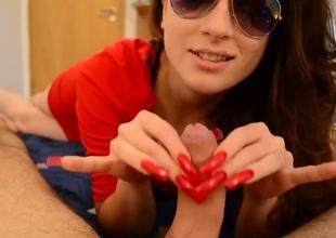 My hot black haired girlfriend up sunglasses gives me a precious handjob