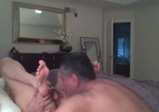 Venerable haired husband eats added to fucks soaking pussy of his wifey beyond cam