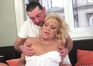 Marketable Blonde Grandma Gets a Cockload up a relieve guy