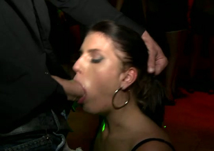 Greedy for cum Kristine Crystalis gives blowjob right first of all a catch dance floor
