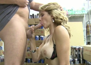 Irresistible blonde generalized Cory Chase sucks tasty dong