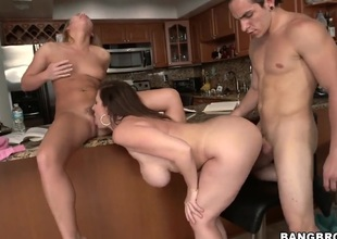Sara Jay is adjacent to her daughter in a 3some