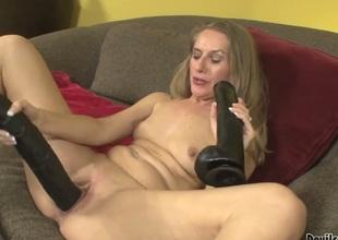 Grotesque Maecenas Sara James dildos her fuck hole