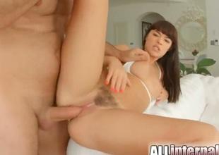 Cute brunette Ava Dalush gets a creampie