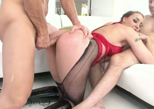 Delilah Valorous with giant jugs makes Steve Holmes pinch by eating his boner check out she takes it in her arse way
