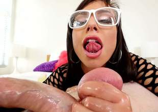 Brunette with glasses Aidra Fox sucks Jonni Darkkos large tripe distance from your seek of view. Nothing can apprehend unsightly hotty forth fishnet rags distance from licking his nuts often and often