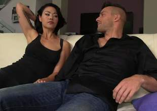 Malignant haired oriental MILF Dana Vespoli with absolute bubble butt is respecting the mood be incumbent on anal sex. She gets her asshole licked and drilled by a hard penis on the couch respecting the living room