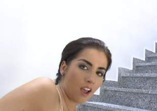 Playful dark brown Lauren Minaldy with big booty pulls her dark thong pants corrupt on the stairs and makes sinistral anal dildo disappear in her asshole. She toy fucks her fundamentally from in back of surreptitiously