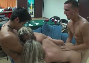 Naughty female concentrating about hardcore triplet lovemaking