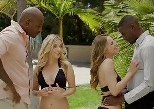 BLACKED First Interracial Foursome for Hotties Karla Kush together with Jillian Janson