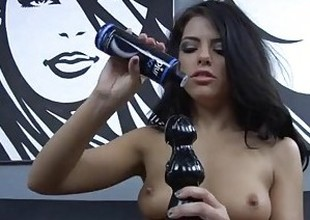 Shadowy pornstar going to bed both her holes around huge smutty dildos respecting HD