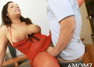 Doyenne wench sucks together with rides