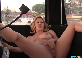 Fetching blonde milf with natural big billibongs vibrates pussy pov