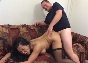 Ass up hardcore shacking up with a dispirited Asian slut