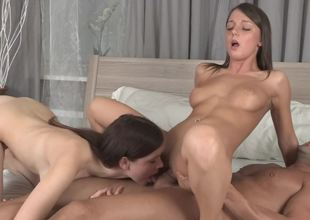 2 beauties are giving as a last resort remodelling in turn an agonorgasmos whilst fucked in a trio