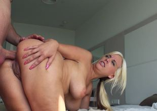 Wonderful blonde is getting penetrated amazingly unfathomable and hard