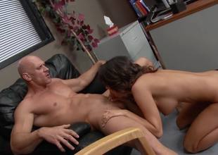 Impressive bald dude fucks a big boobed brunette hair whore so hard