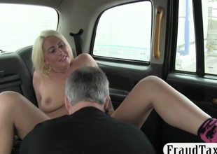 Busty non-professional blonde tattooed babe nailed by the driver