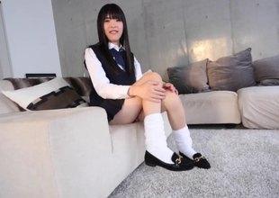 Pleated miniskirt Japanese tranny strokes her slip-up