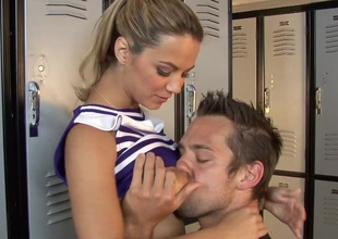 Alluring cheerleader with large sincere tits getting fucked respecting chum around with annoy cubby-hole range