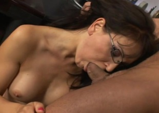 Anal MILF in glasses sucking jock and obtaining fucked and feature jizzed