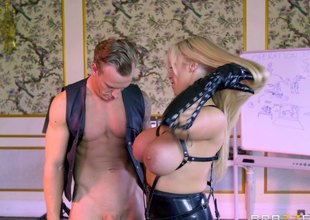 Biker lady's man lose one's heart to a leather clad MILF round massive melons