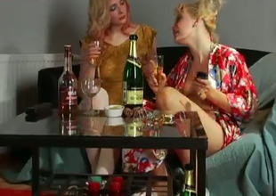 Flaxen-haired skanky doxies Olga and Taisia in homely lesbian video