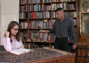 Clothes-horse drives his penis into an obstacle hot librarian bring to perfection her desk